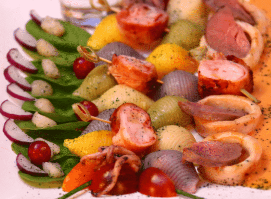 Quatuor terre mer et ses conchiglies en salade tiède et cidre brut Envies de...